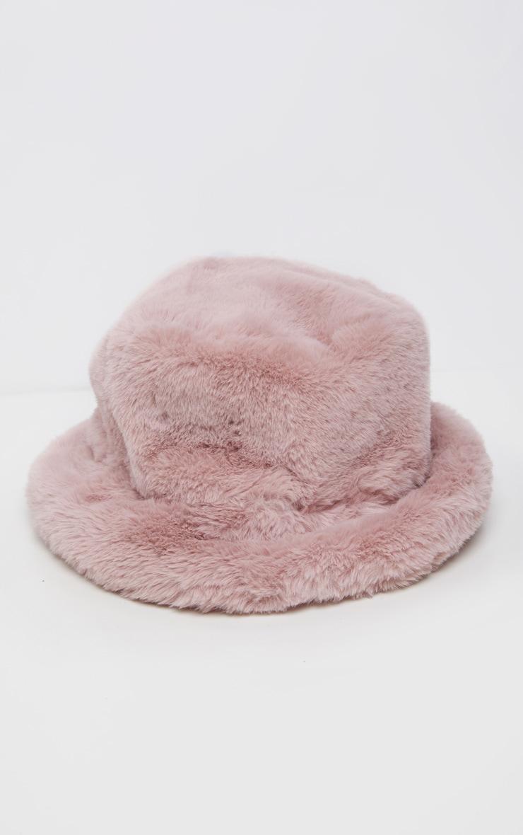 Pink Faux Fur Bucket Hat 2