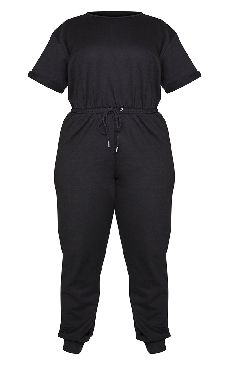 Plus Black Short Sleeve Sweat Jumpsuit 5