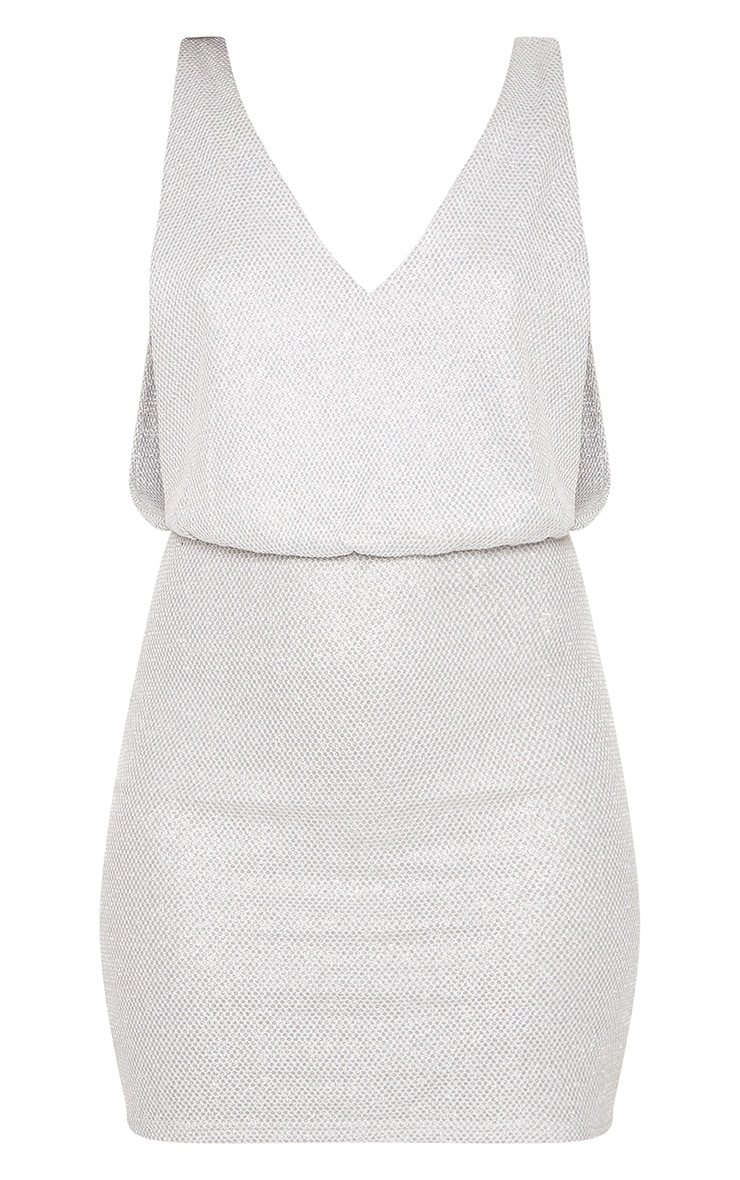 Silver Glitter Mesh Plunge Back Bodycon Dress 5