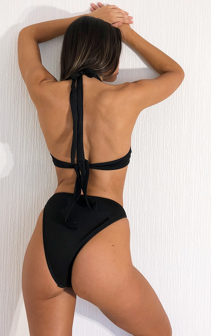 Black High Leg Bikini Bottoms 2