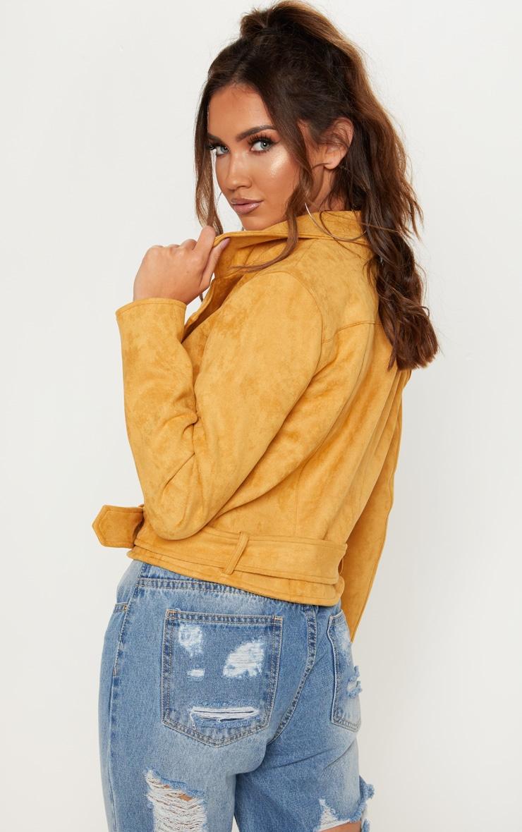 Mustard Faux Suede Biker Jacket 2