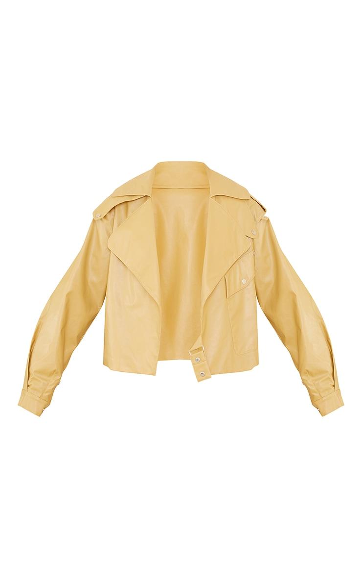 Sand Faux Leather Pocket Front Jacket 5