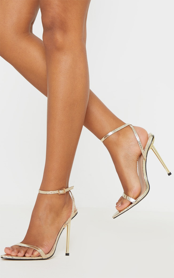 Gold Snake Metal Heel Point Toe Barely There Strappy Sandal 2