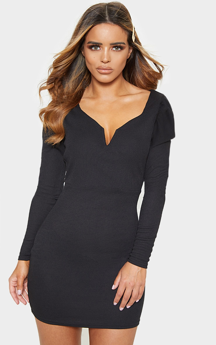 Petite Black Ribbed Long Sleeve Bodycon Dress 1