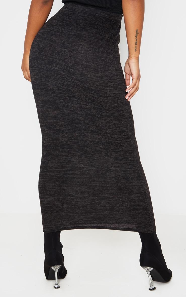 Jupe longue noire style brossé 4
