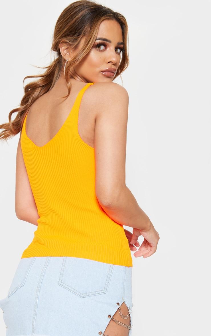 Petite Neon Orange Strappy V Neck Knit Top 2