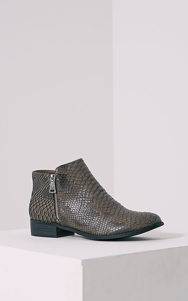 Grey Croc Effect Low Ankle Boots 3