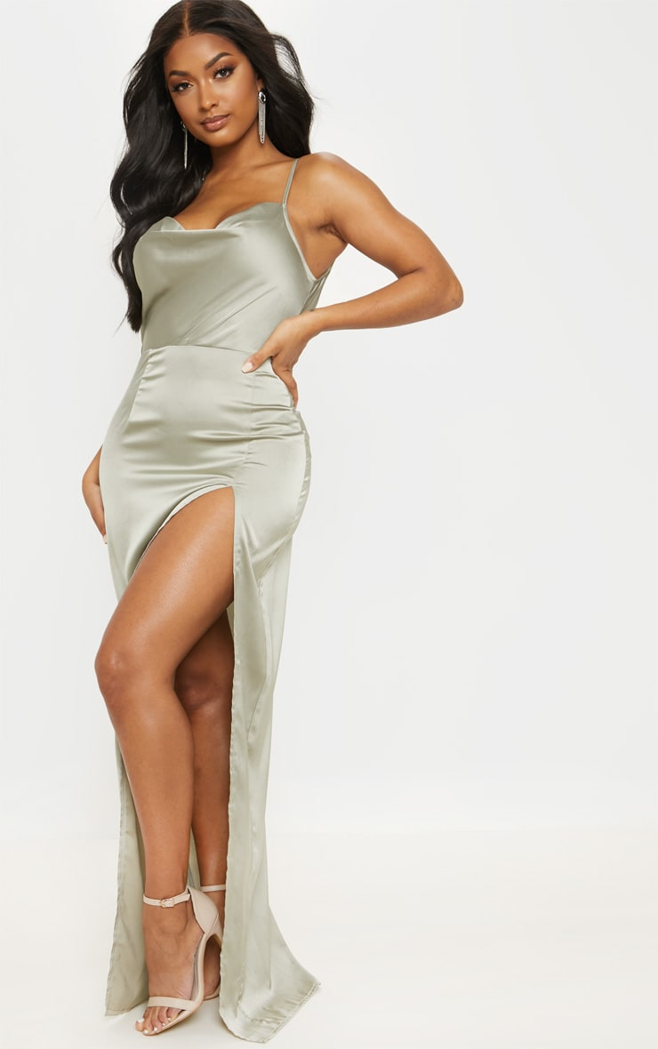Shape Sage Green Satin Cowl Neck Maxi Dress 4