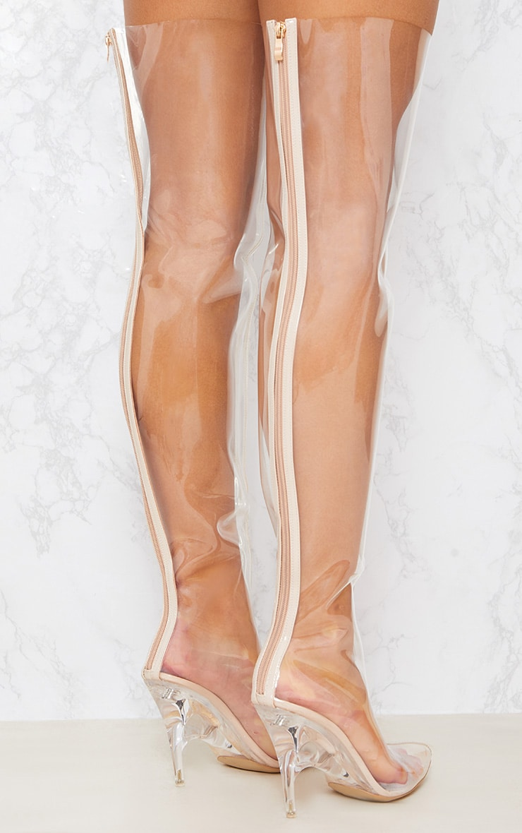 Clear Thigh High Heeled Boots 6