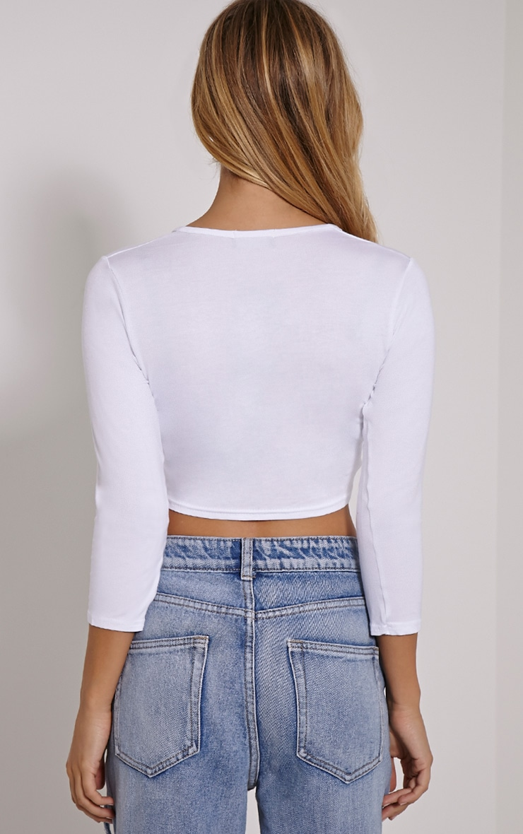Basic top court blanc cache-cœur en jersey 2
