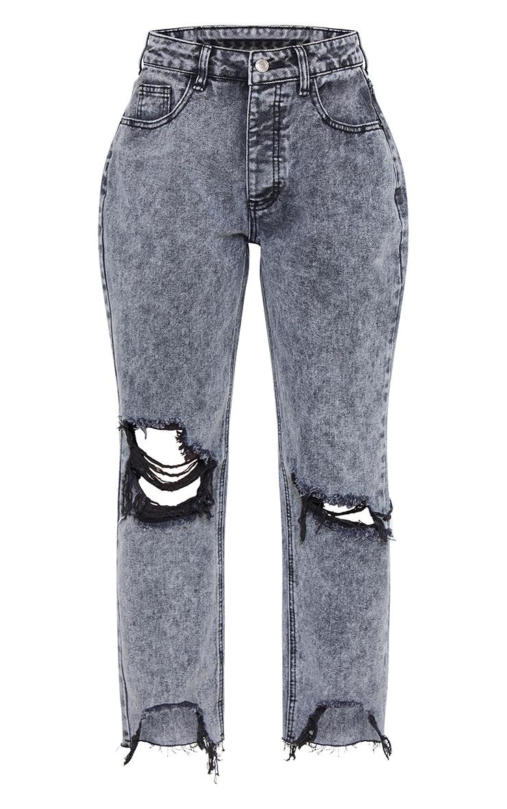 PRETTYLITTLETHING Petite Grey Acid Wash Extreme Distressed Hem Denim Jeans 5