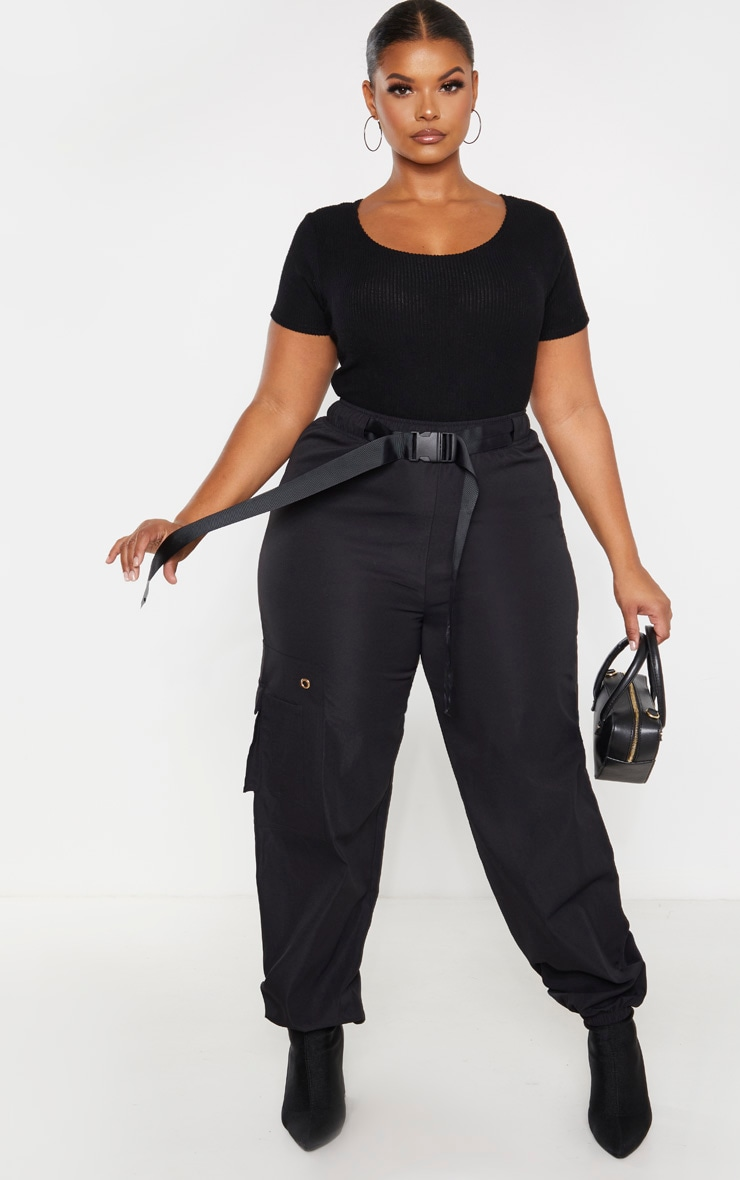 Plus Black Brushed Rib Bodysuit 4