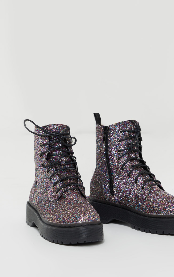 Silver Glitter Lace Up Chunky Ankle Boots 3