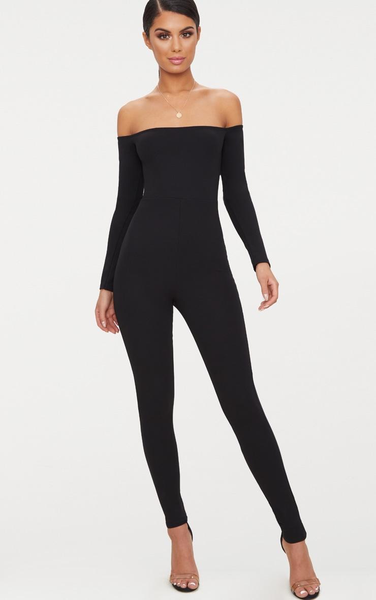 Combinaison Bardot noire à manches longues 1