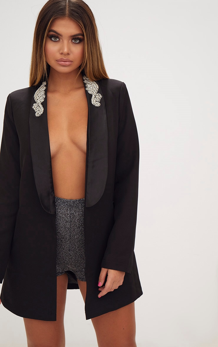 Black Embellished Applique Detail Oversized Blazer 1