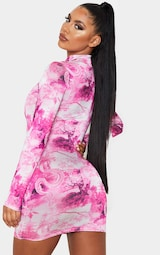 Hot Pink Dragon Print Slinky High Neck Long Sleeve Bodycon Dress 2
