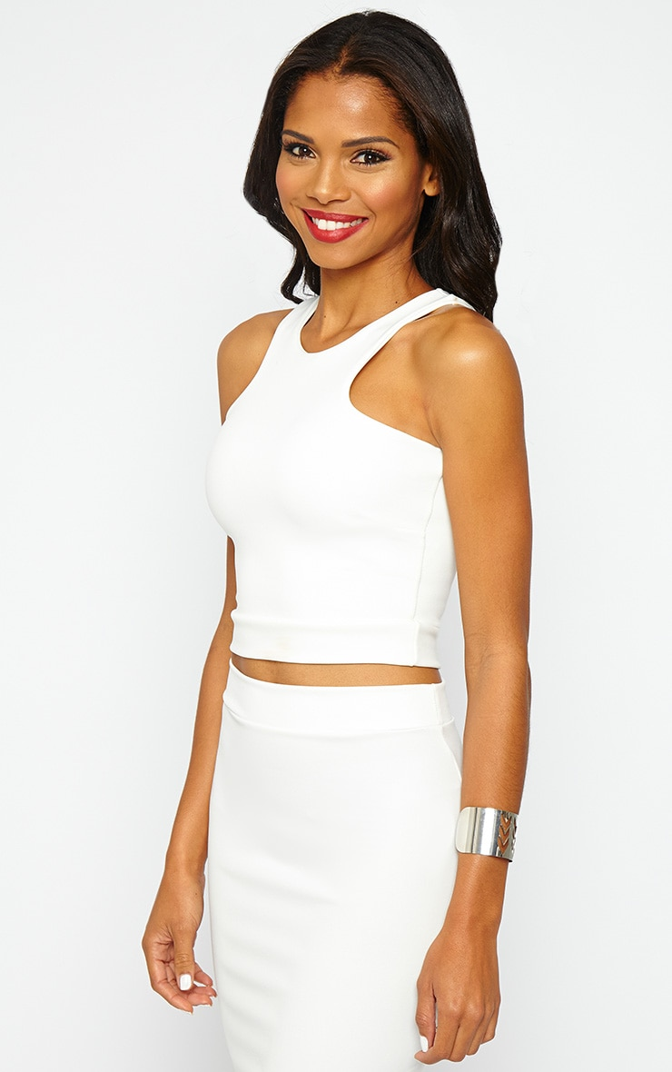 Janine Cream Sleeveless Crop Top 4