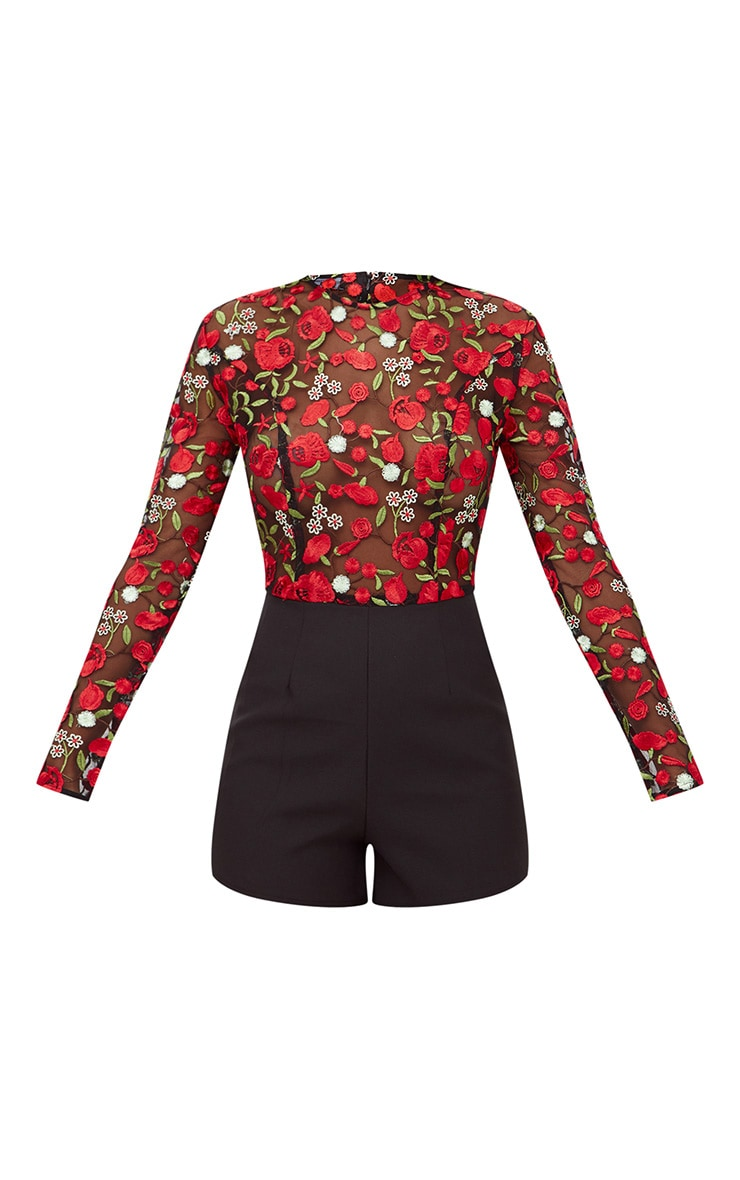 Red Long Sleeve Embroidered Playsuit 3
