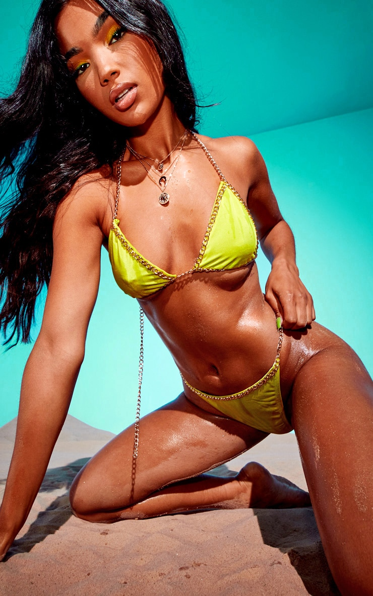Lime Chain Trim Triangle Bikini Top 4