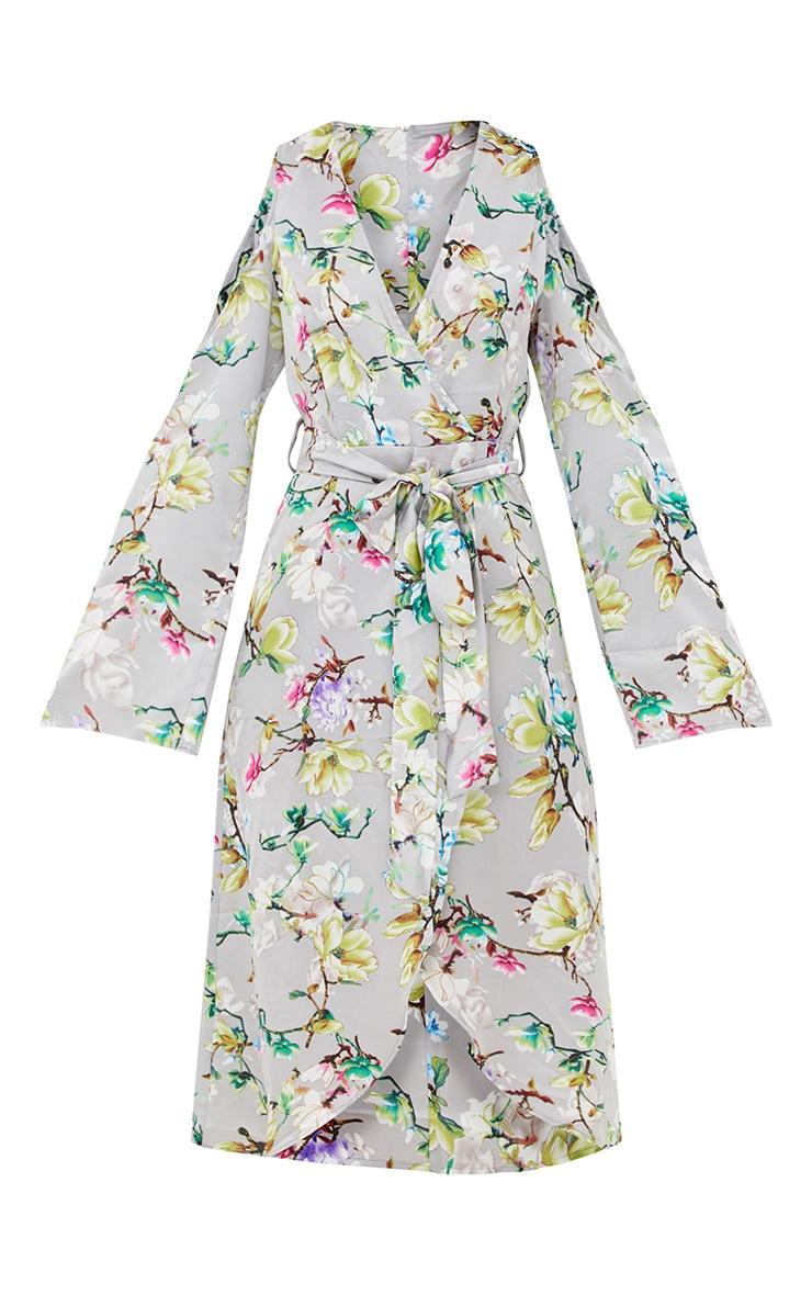 Grey Floral Satin Midi Dress 3