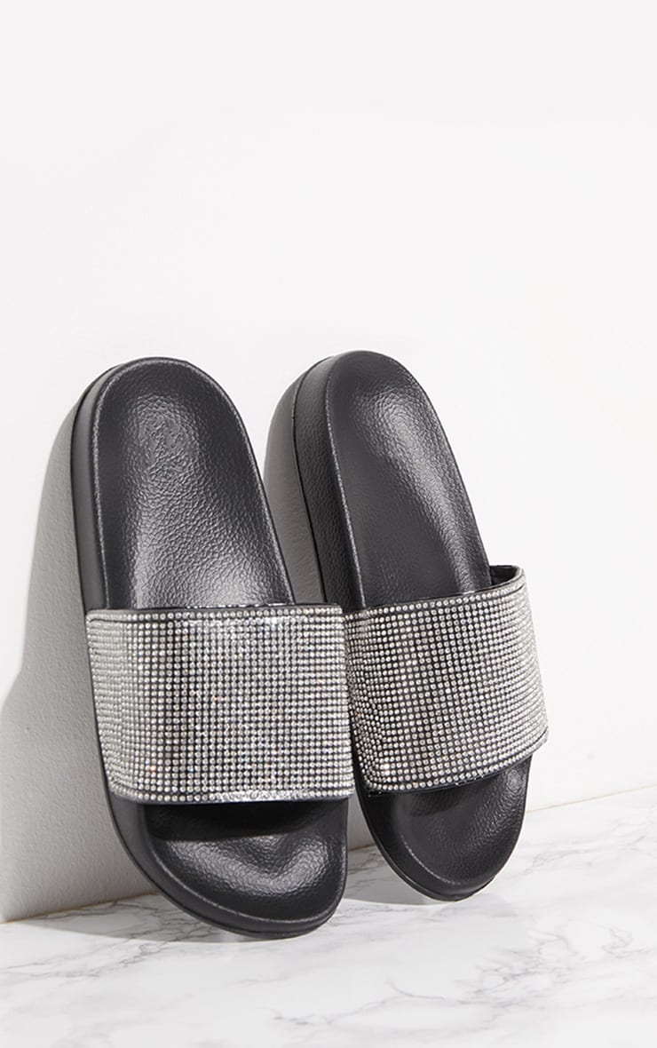 Black Diamante Strap Slider