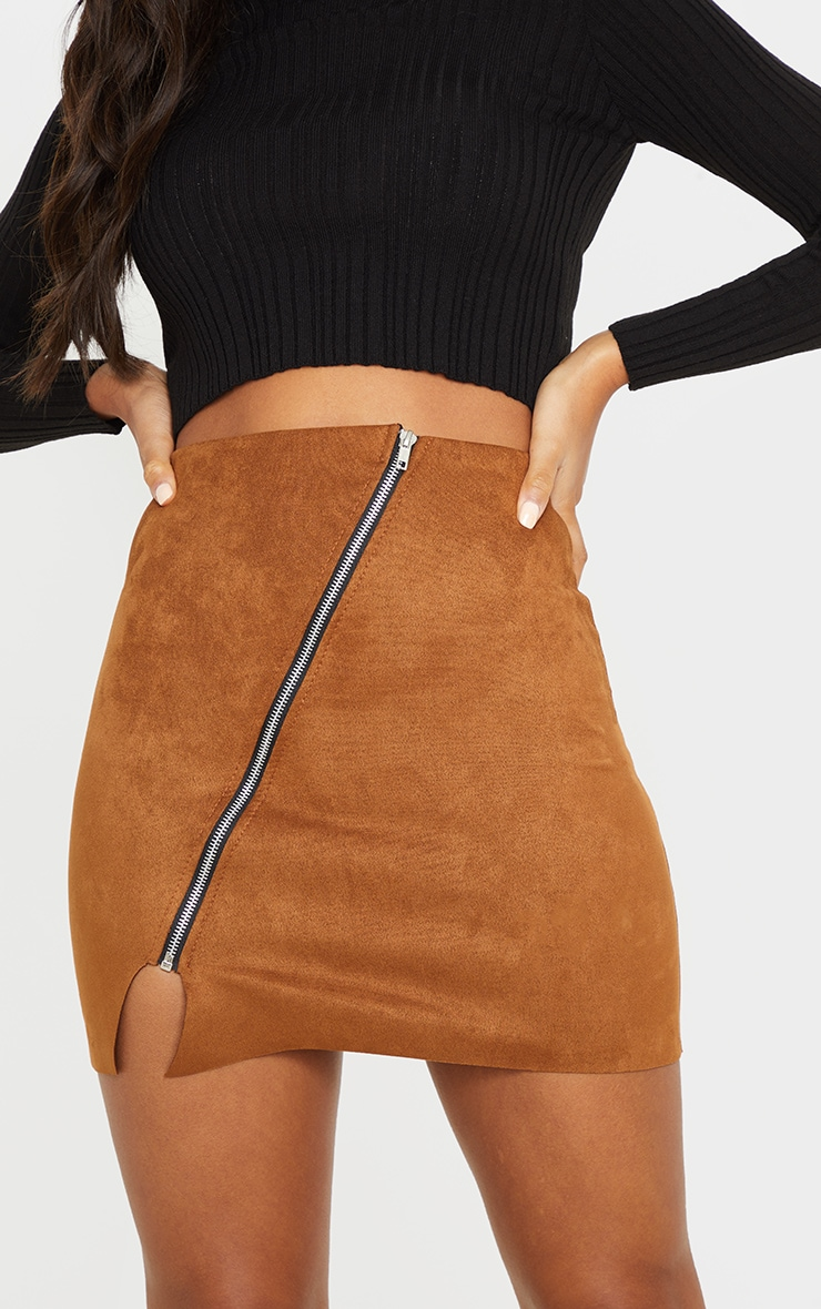 Brown Faux Suede Zip Detail A Line Skirt 6