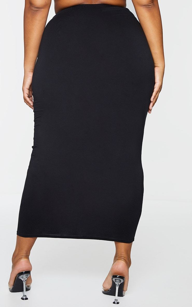 Plus 2 Pack Basic Black & Grey Jersey Midaxi Skirt 3