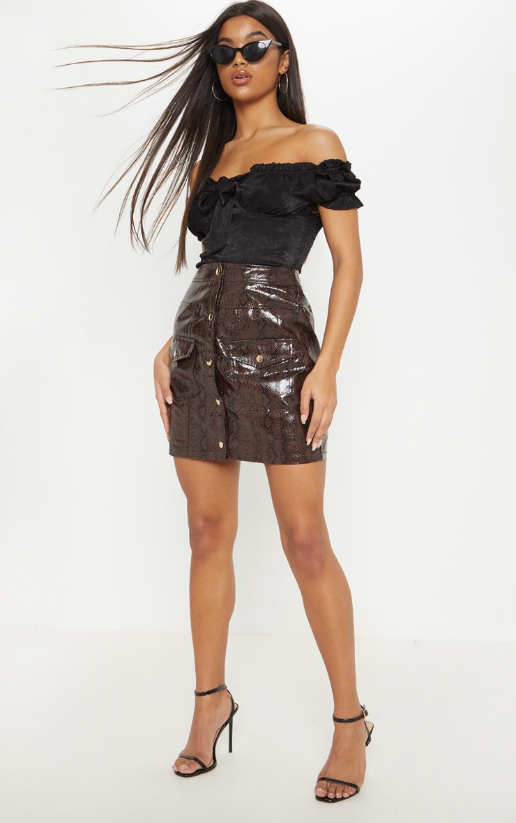 Brown Snakeskin Popper Front Pocket Mini Skirt 5