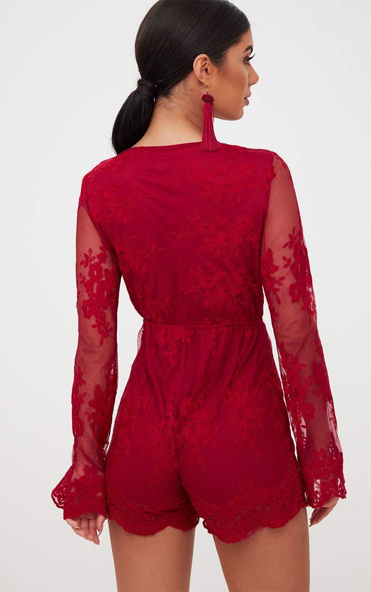Red Lace Bell Sleeve Playsuit 2