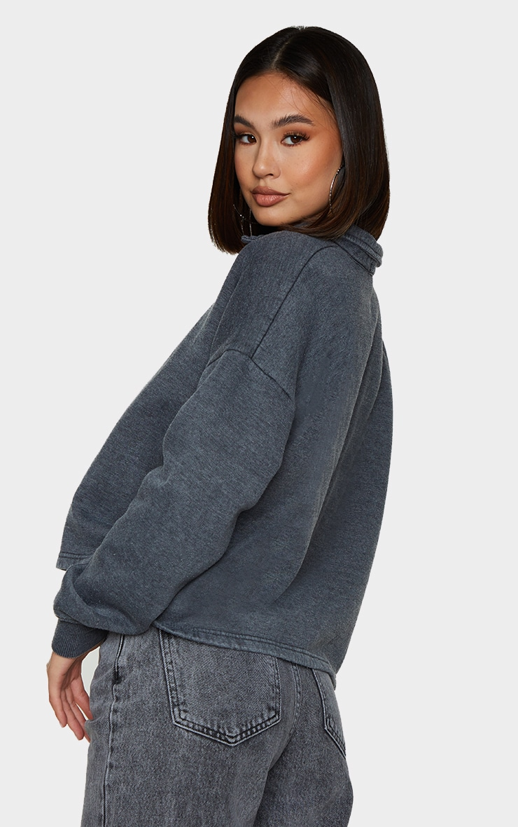 Grey Washed Oversized Sweat Polo Shirt 2