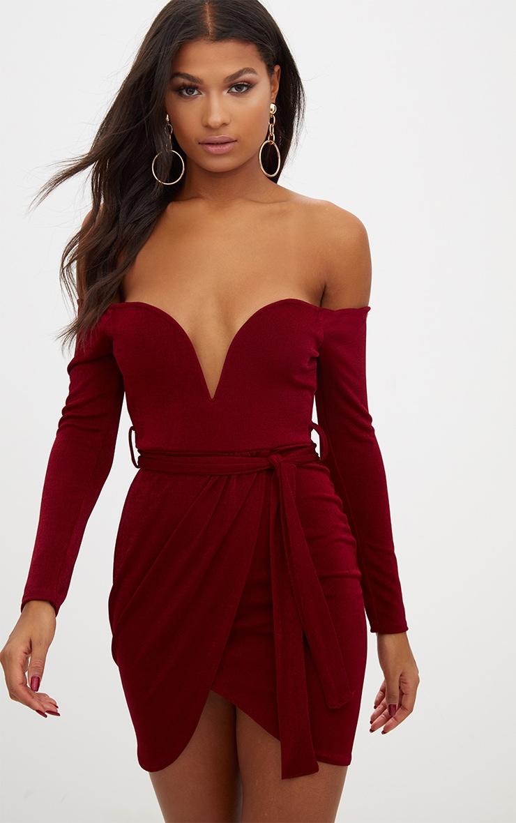 Arabella tie waist bandage bodycon dress red