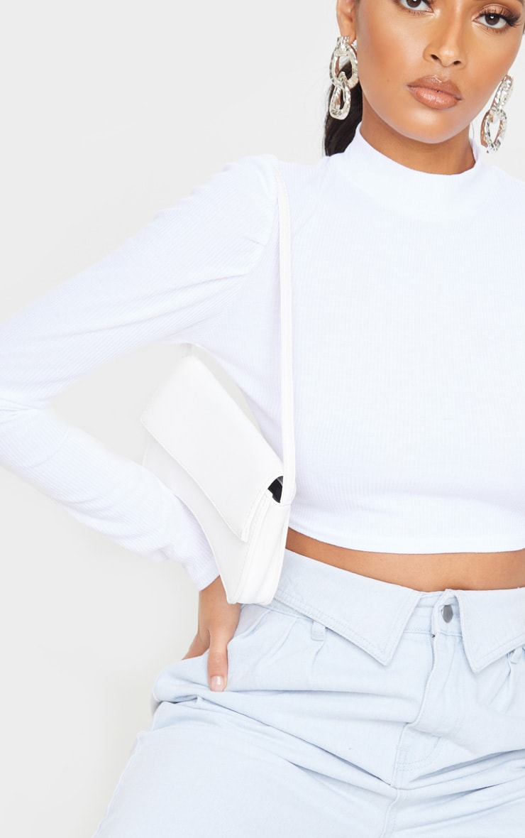 White Rib High Neck Puff Sleeve Top 5
