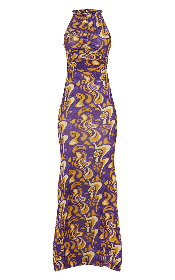 Tall Purple Slinky Cut Out Maxi Dress 5