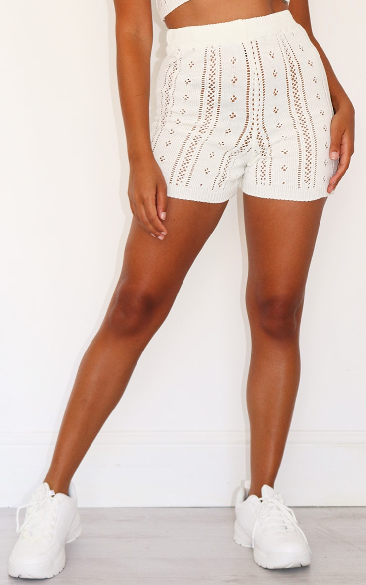 Petite Cream Pointell Knit Cycle Short 2