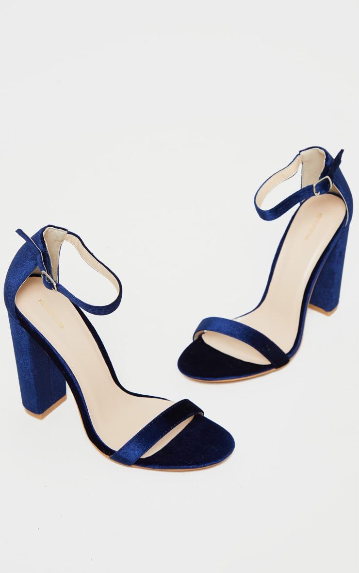 Navy Velvet May Heeled Sandals 3