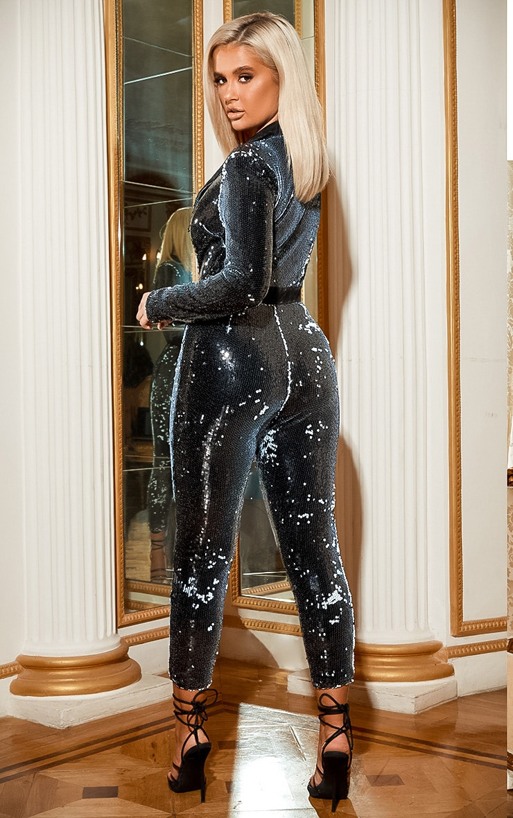 Black Plunge Front Tailored Sequin Jumpsuit 4