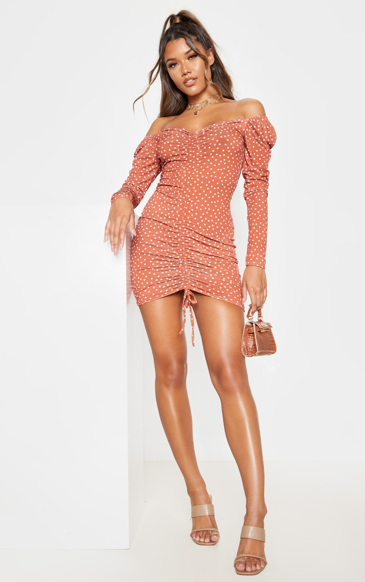 Recycled Terracotta Polka Dot Print Ruched Front Long Sleeve Bodycon Dress 1