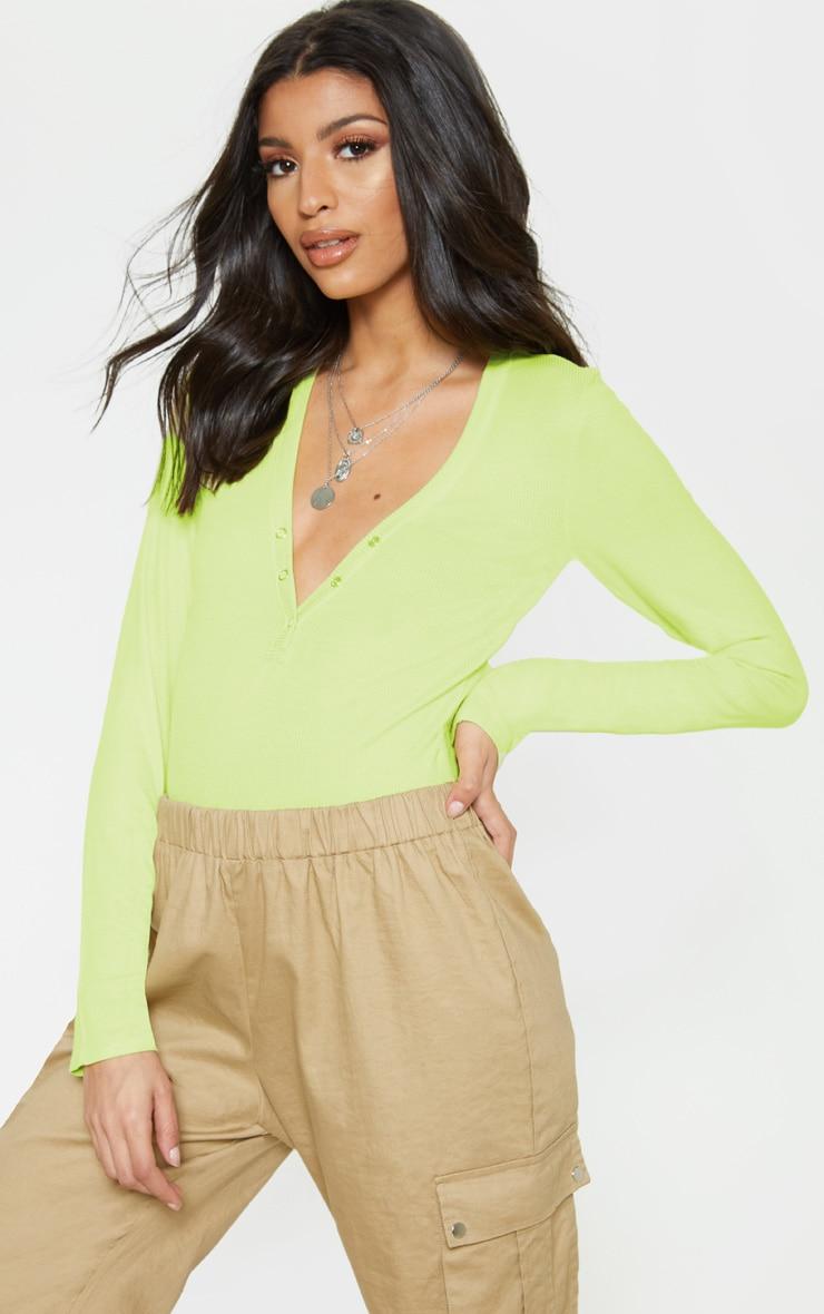 Lime Long Sleeve Popper Detail Thong Bodysuit 1