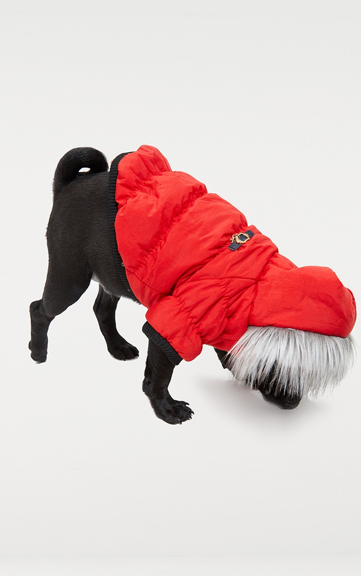Red Quilted Faux Fur Hood Doggy Coat 3