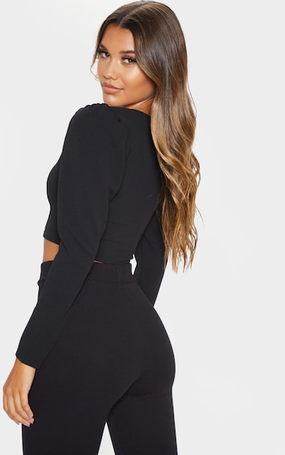 Black Crepe Plunge Puff Sleeve Crop Top