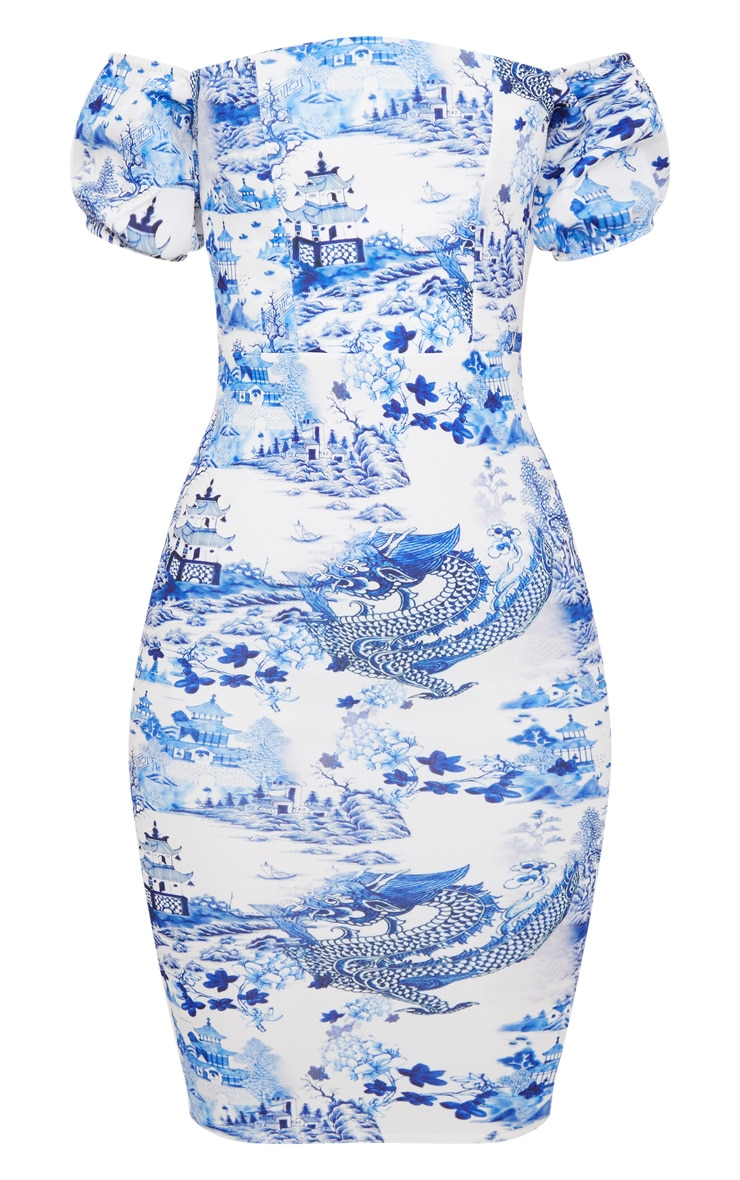White Porcelain Print Bardot Midi Dress  3