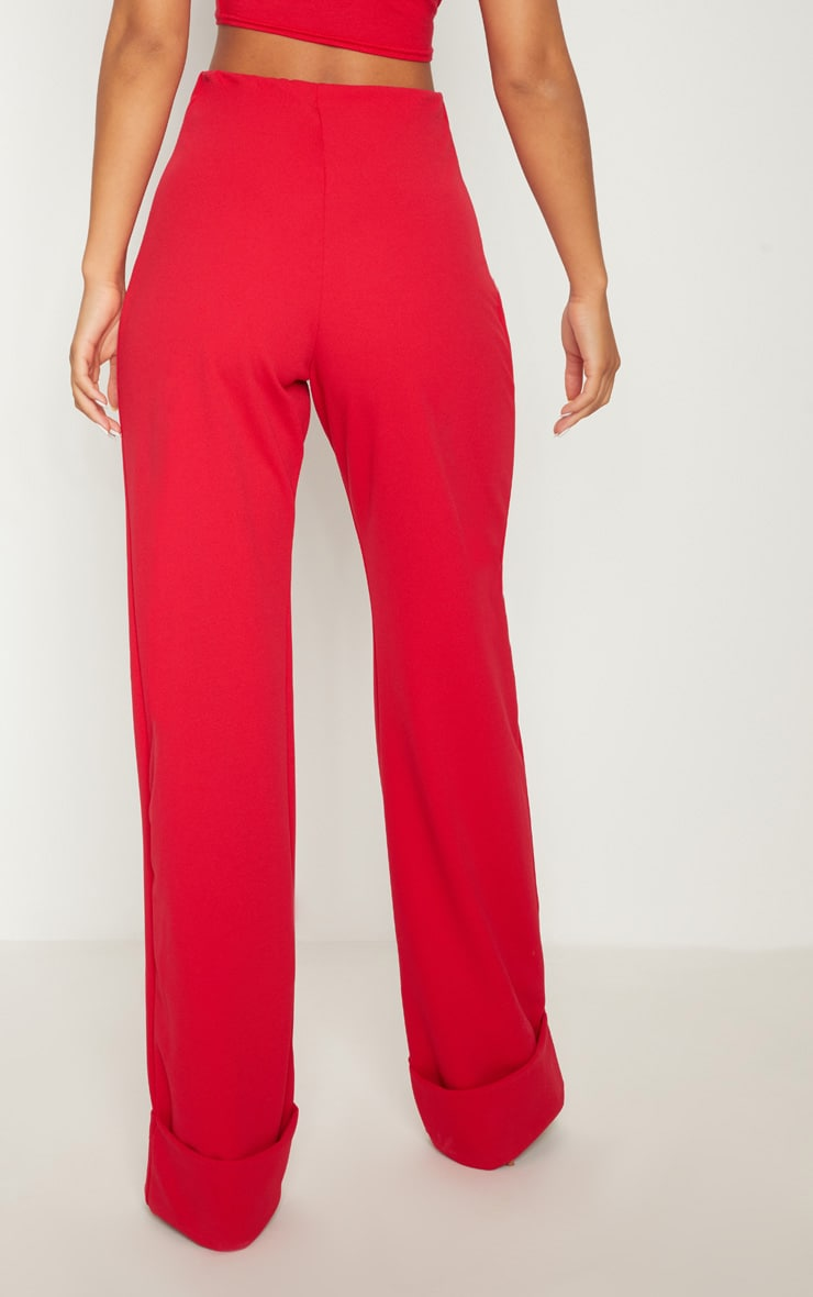 Red Crepe Deep Turn Up Wide Leg Trouser 4
