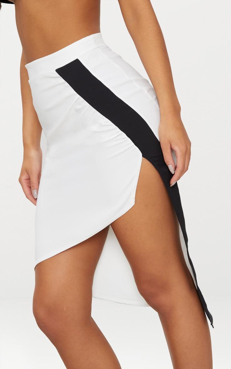 Cream Contrast Stripe Hem Thigh Split Skirt 5
