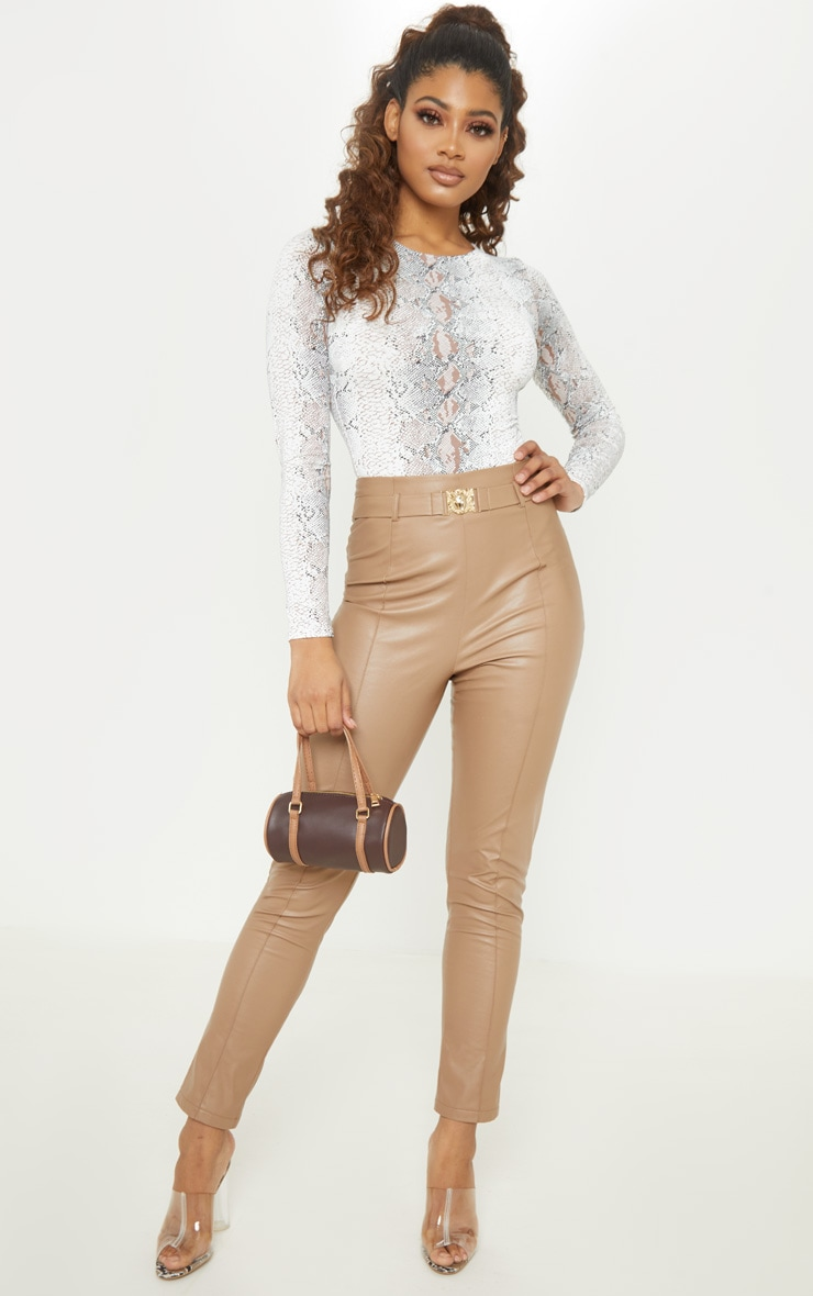 Tall Taupe Slinky Long Sleeve Snake Print Bodysuit 5