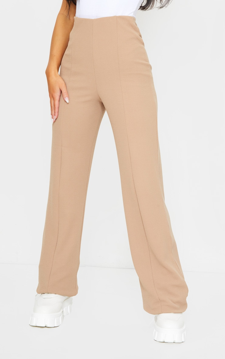 Camel Crepe Seam Front Wide Leg Trousers 2