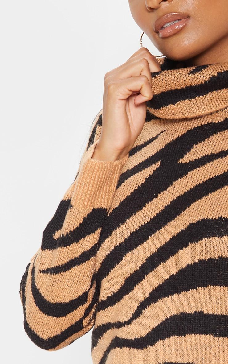Camel Animal Print Sweater Dress 5