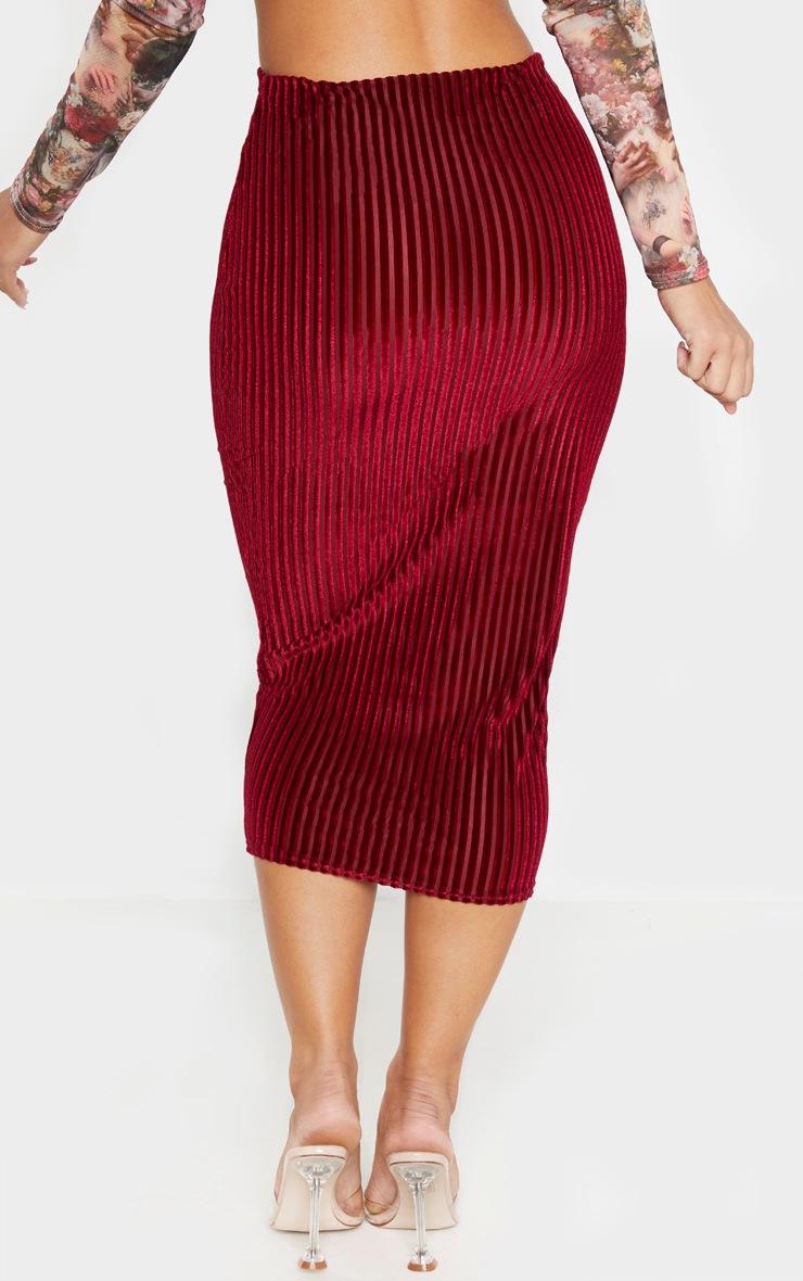 Burgundy Striped Velvet Midi Skirt  4