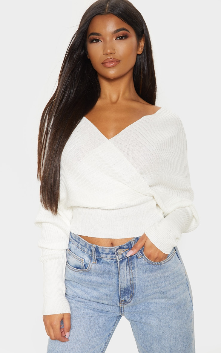 Ivory Wrap Off The Shoulder Jumper 1