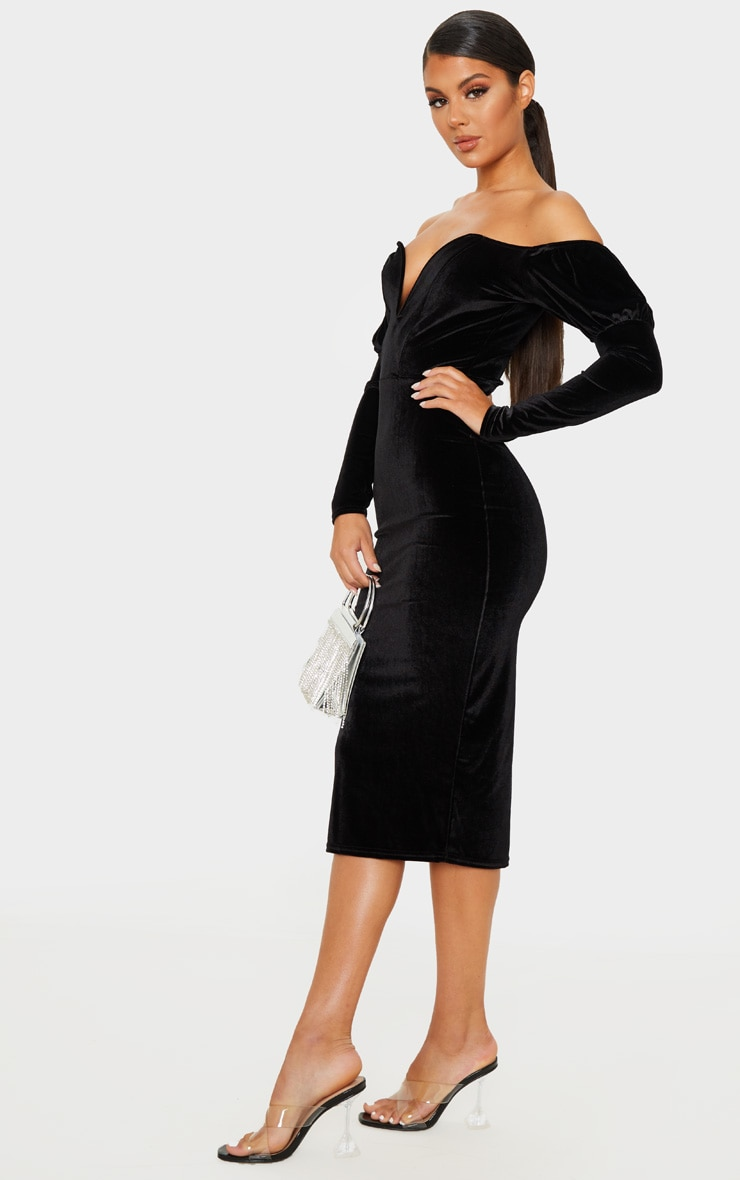 Black Velvet V Bar Puff Sleeve Midi Dress 4