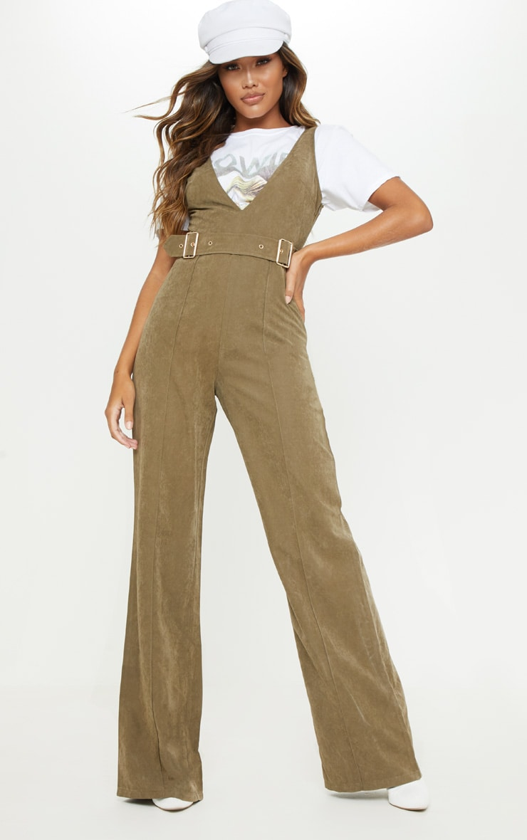 Khaki Soft Touch Belted Wide Leg Jumpsuit 1